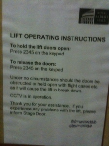 A photo of lift operating instructions that accompany the photo of the lift's control panel above