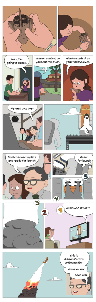 Comic strip showing young girl with toy rocket called EndeavErr and people working in a 'real' mission control centre getting ready for launch