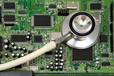iStock_000003326420Large stethoscope and circuit board